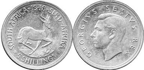 old coin South Africa 5 shillings 1948