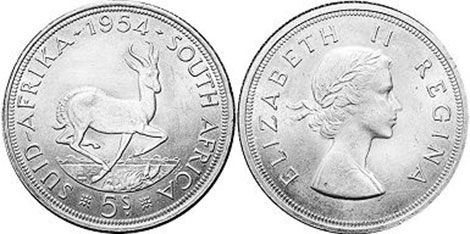 old coin South Africa 5 shillings 1954