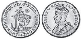 old coin South Africa 1 shilling 1933