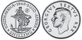 old coin South Africa 1 shilling 1948