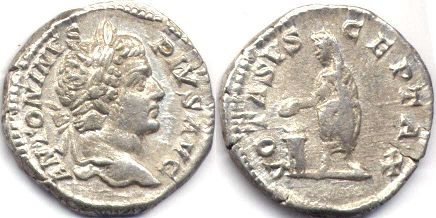coin Roman Empire Caracalla denarius