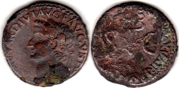 coin Roman Empire Tiberius as