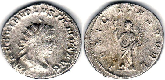 coin Roman Empire Volusianus antoninianus