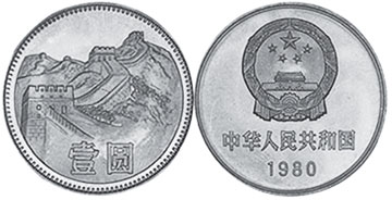 coin chinese 1 yuan 1980
