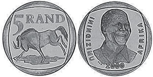 coin South Africa 5 rand 2000