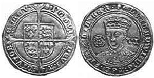coin English 6 pence 1551-1553