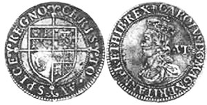 coin English 6 pence 1625-1649