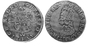 coin English 6 pence 1660-1685