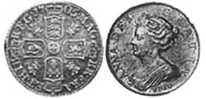 coin English 6 pence 1702