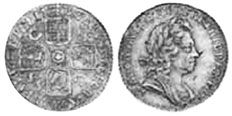 coin English 6 pence 1723