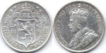 coin Cyprus 18 piasters 1921