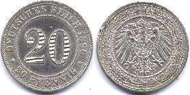 coin German Empire 20 pfennig 1890
