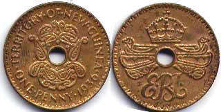coin New Guinea 1 penny 1936