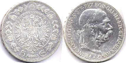 coin Austrian Empire 5 corona 1900
