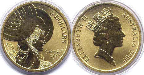 australian commemmorative coin 5 dollars 2000