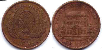 coin Lower Canada 1/2 penny 1842