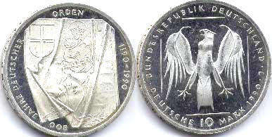 coin Germany 10 mark 1990