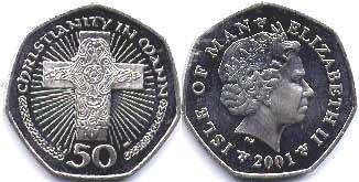 coin Isle of Man 50 pence 2001