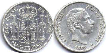 coin old Philippines 50 centavos 1885