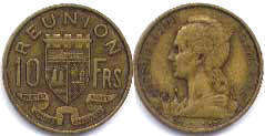 coin Reunion 10 francs 1955
