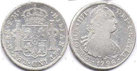 coin Mexico 8 reales 1796