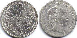 coin Austrian Empire 20 kreuzer 1870