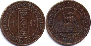 coin French Indochina 1 cent 1888