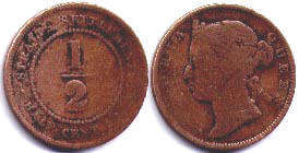 coin Straits Settlements 1/2 cent 1883