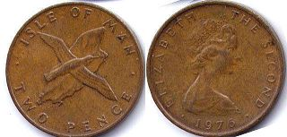 coin Isle of Man 2 pence 1976