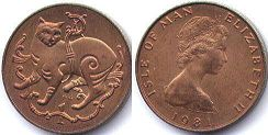 coin Isle of Man 1 penny 1981