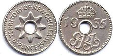 coin New Guinea 6 pence 1935