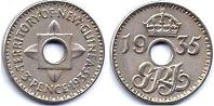coin New Guinea 3 pence 1935