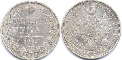 coin Russia 1 rouble 1851