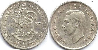 old coin South Africa 2 shillings 1937