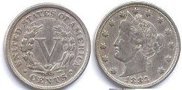viejo Estados Unidos moneda 5 centavos 1883 Liberty nickel