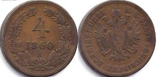 coin Austrian Empire 4 kreuzer 1860