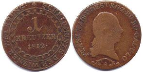 coin Austrian Empire 1 kreuzer 1812