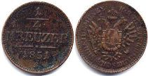 coin Austrian Empire 1/4 kreuzer 1851