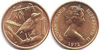 coin Cayman Islands 1 cent 1972