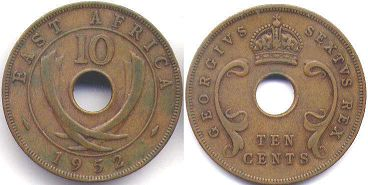 coin BRITISH EAST AFRICA 10 cents 1952