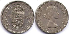 coin UK coin 1 shilling 1957