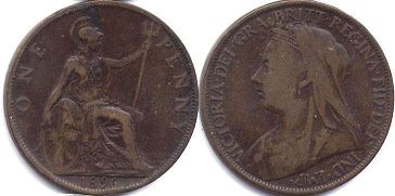 coin UK old coin 1 penny 1896