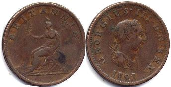 coin UK old coin half penny 1807