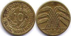 coin German Weimar 10 pfennig 1924