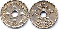 coin New Guinea 3 pence 1944
