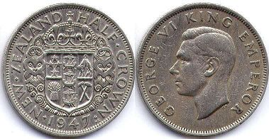 coin New Zealand 1/2 crown 1947