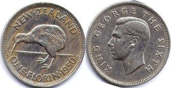 coin New Zealand 1 florin 1950