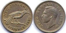 coin New Zealand 6 pence 1951