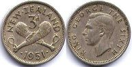 coin New Zealand 3 pence 1951