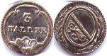 coin Zurich 3 heller ND (1803-1848)